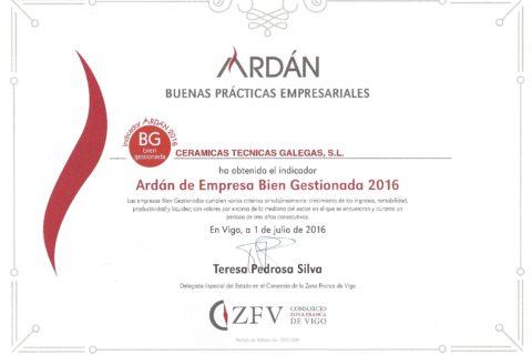 CERTEGA obtiene el Indicador ARDÁN 2016