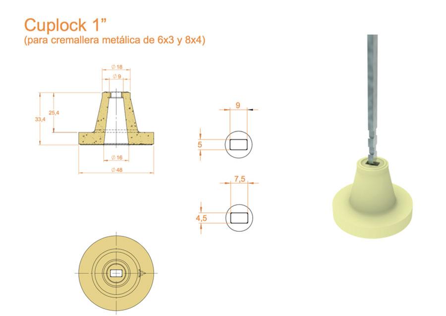 """(Español) Cuplocks 1"""" soporte fijación para fibra Cerámicas Técnicas Certega"""