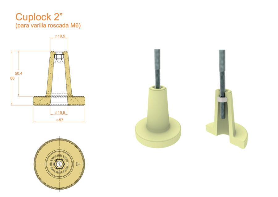 """(Español) Cuplocks 2"""" varilla soporte fijación para fibra Cerámicas Técnicas Certega"""